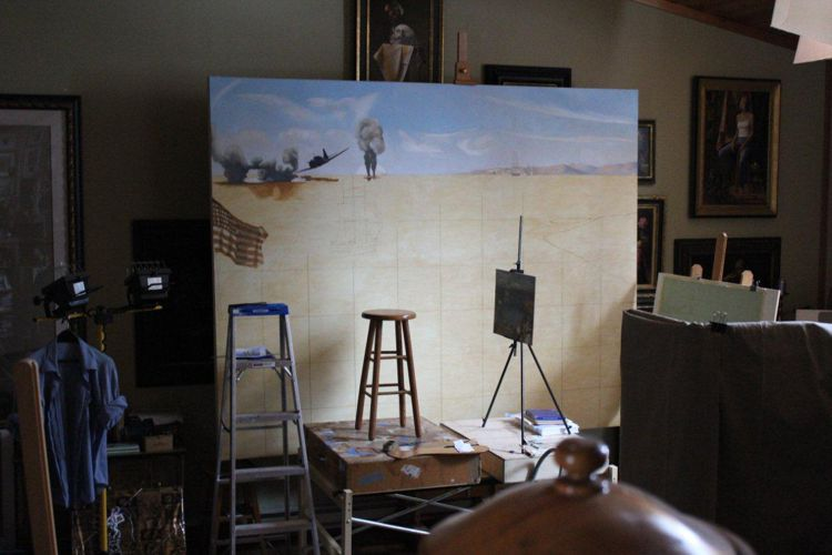 Navy - painting beginning in studio