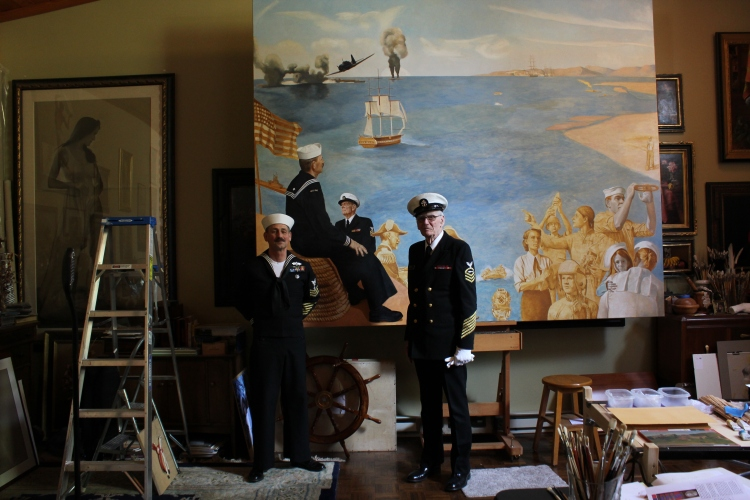 Navy Painting June 2013 with models Ray Stumpf (l) and Howard Warnberg (r)