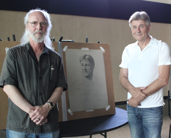 Kapsner and Colonel Rolf Wold with the final drawing