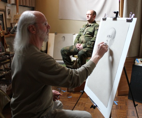 Portrait sketch at the studio with Lieutenant Colonel Ingvar Seland