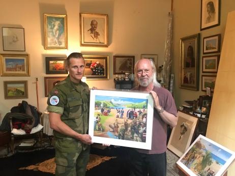 Lieutenant Colonel Børge Gamst with artist Charles Kapsner